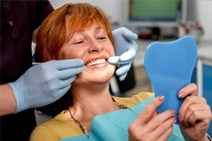 A woman at her dental appointment